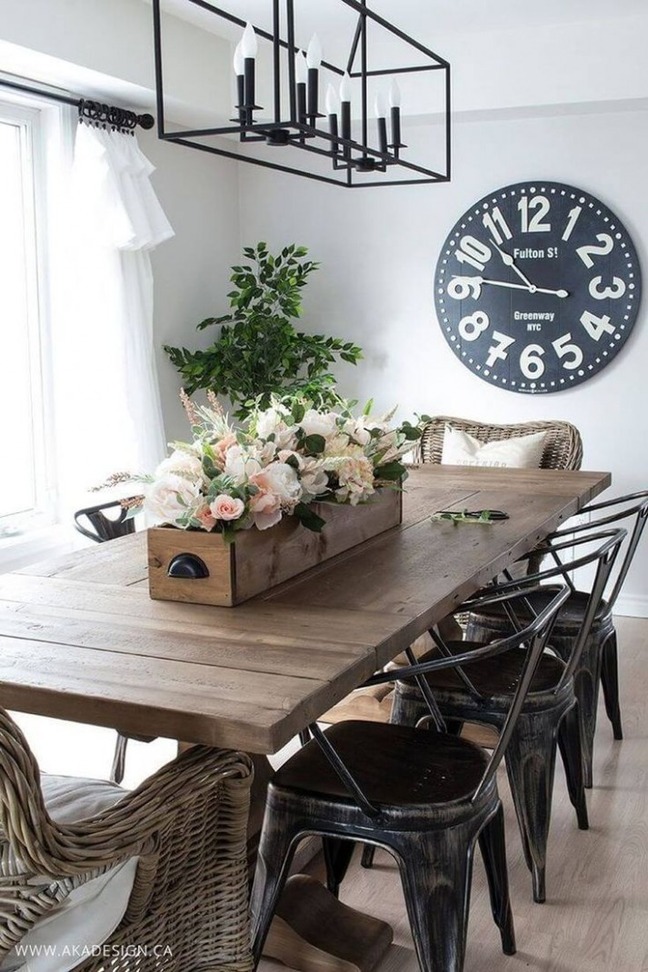 9+ Stunning Farmhouse Furniture and Decor Ideas to Turn Your Home  - Dining Room Ideas Industrial