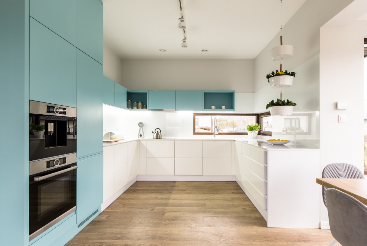 9 Tips for Two Tone Kitchen Cabinets in a Small Kitchen - NEBS - Shorter Kitchen Base Cabinets