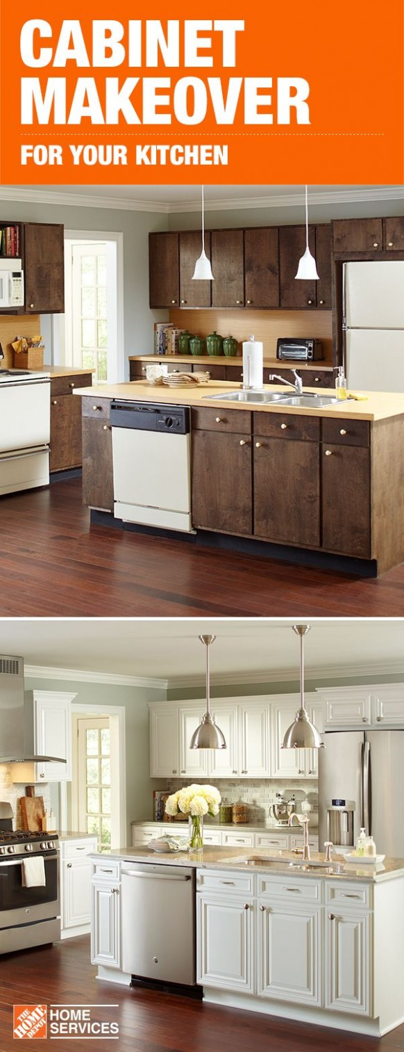 A cabinet makeover with The Home Depot can give your space a whole  - Renew Kitchen Cabinets Home Depot