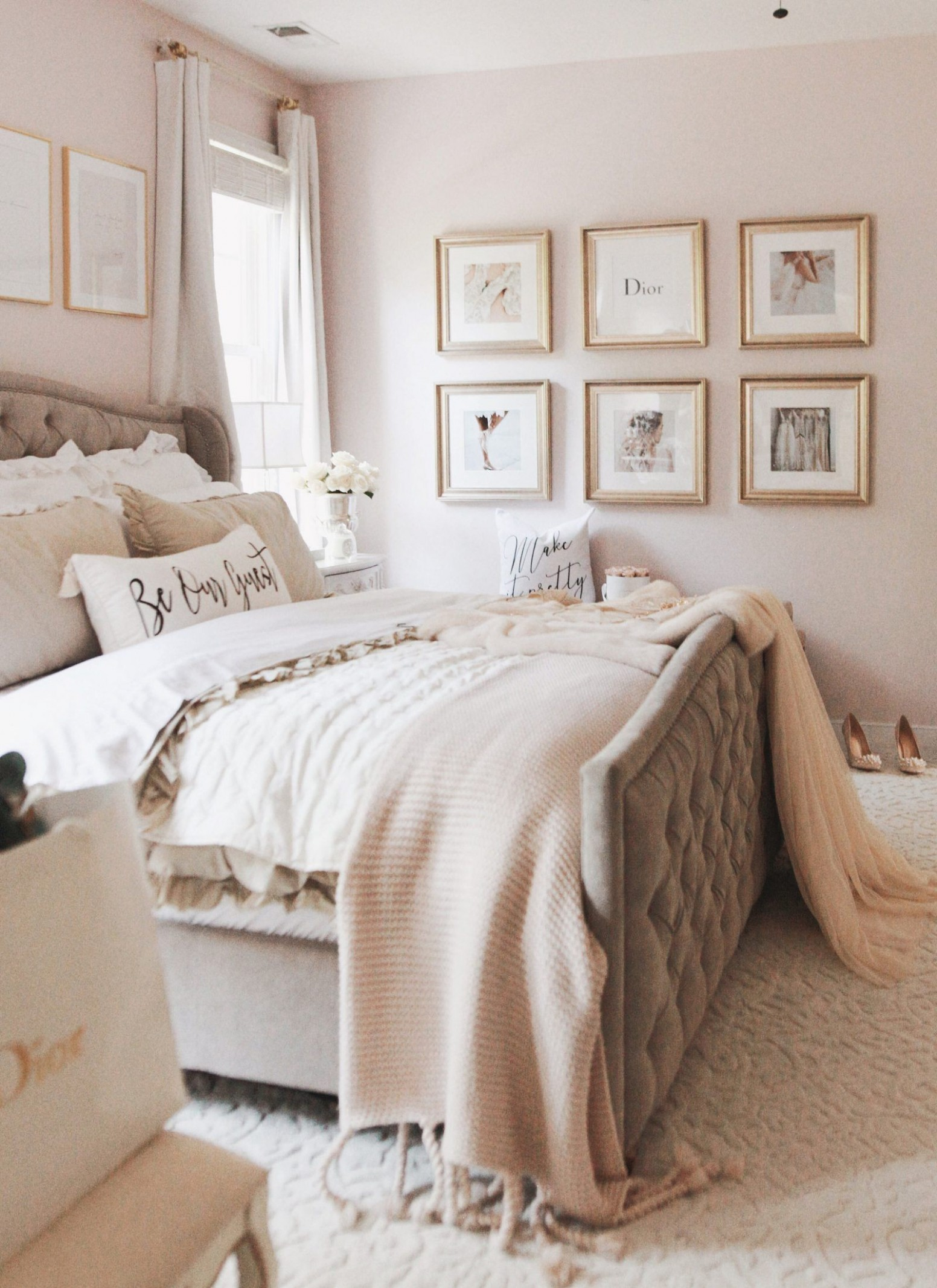 A glamorous inspo wall with Framebridge  Neutral bedroom decor  - Bedroom Ideas Neutral