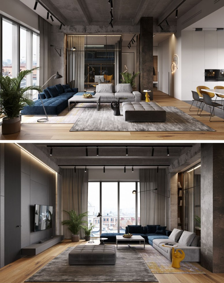 A Glass Wall Separates The Living Room From The Home Office In  - Apartment Design Large Windows