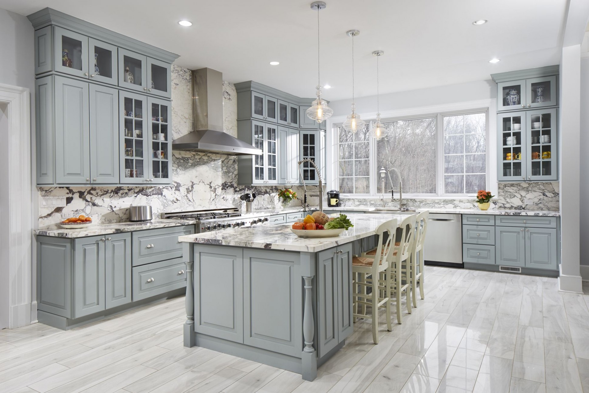 A stunning Larchmonth, NY gray and white kitchen using CliqStudios  - Beautiful Kitchens With Grey Cabinets