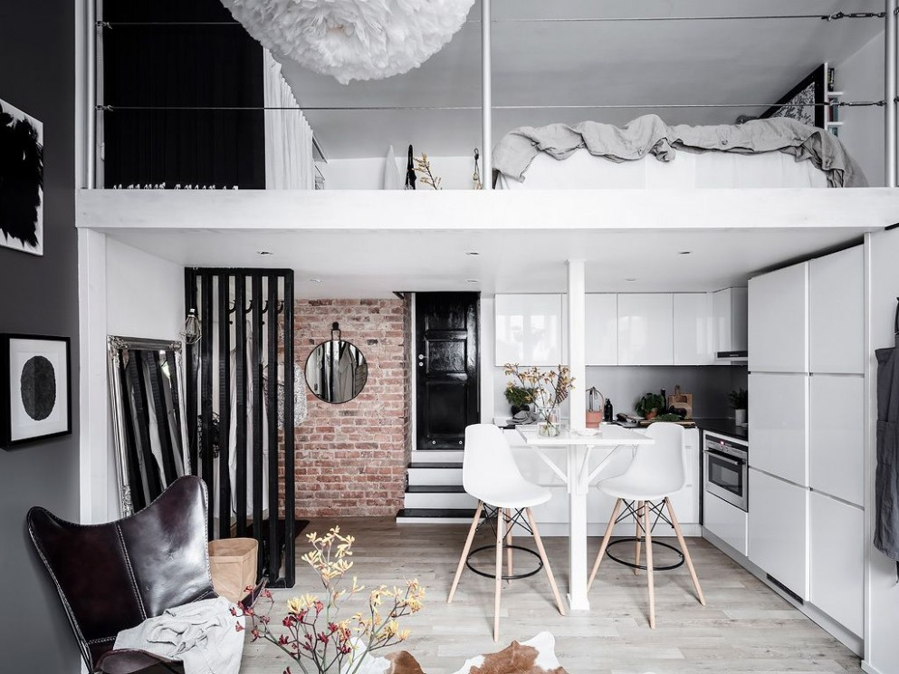A Tiny Scandinavian Loft Apartment — THE NORDROOM  Small loft  - Apartment Design With Loft