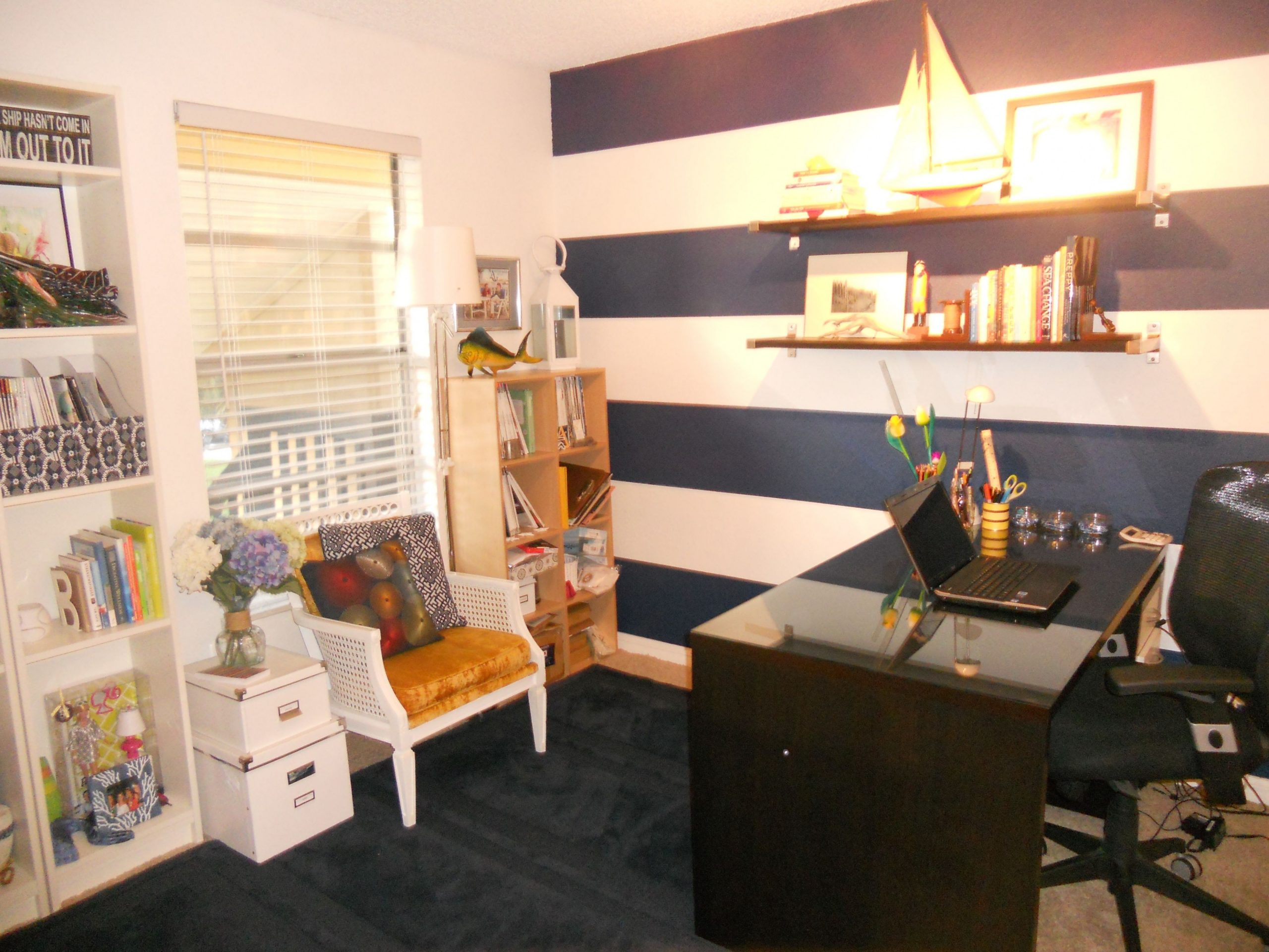 Anchored Style home office #nautical #prep #inspirational #stripes  - Nautical Home Office Ideas