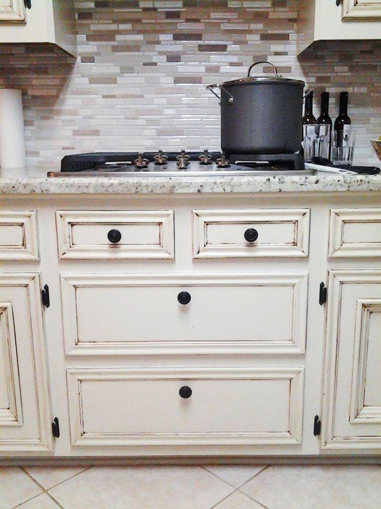 Antique White Kitchen Makeover  Antique white kitchen cabinets  - Distressed Milk Paint Kitchen Cabinets