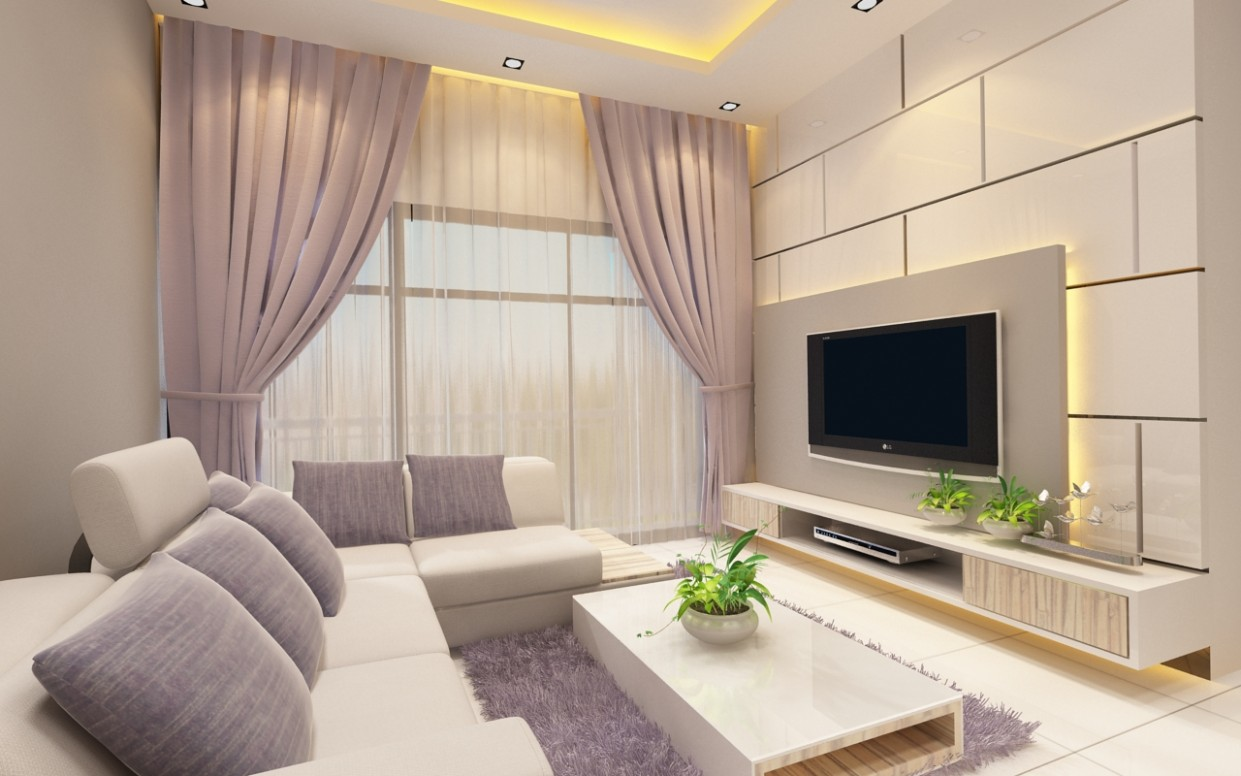 Apartment bright and cozy minimalist style living hall - Ideahome  - Apartment Design Johor