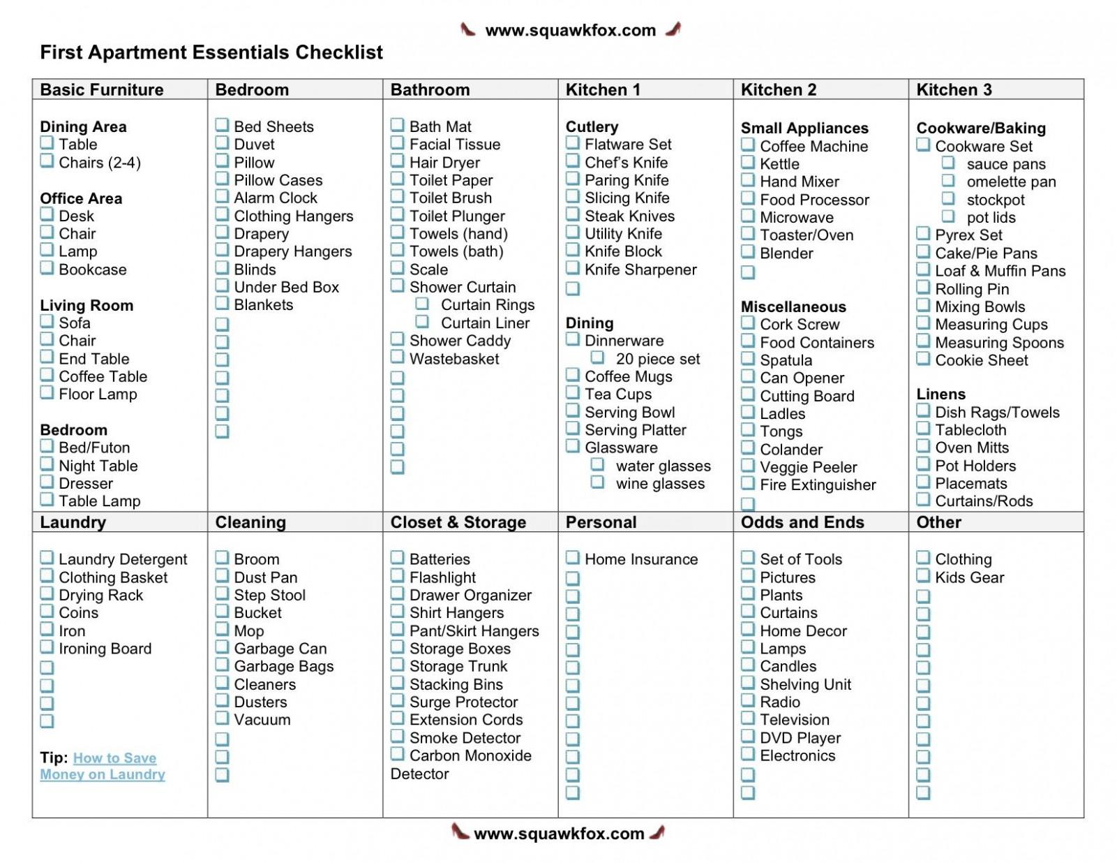 Apartment Checklist: Printable First Apartment Essentials  - Apartment Design Checklist