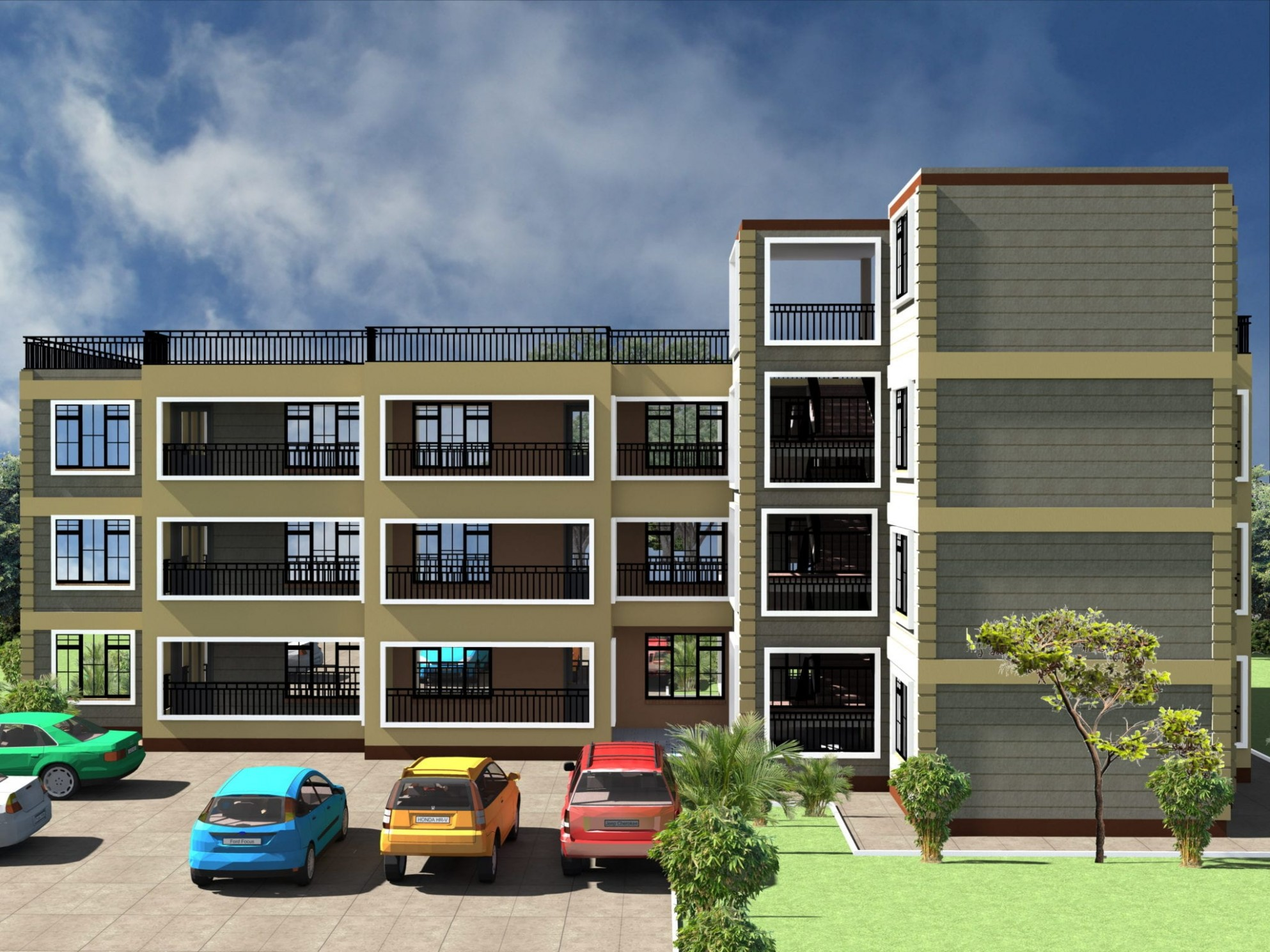 Apartment Design Plans 10 & 10 Bedrooms on 10*100 plot  HPD Consult - Apartment Design Kenya