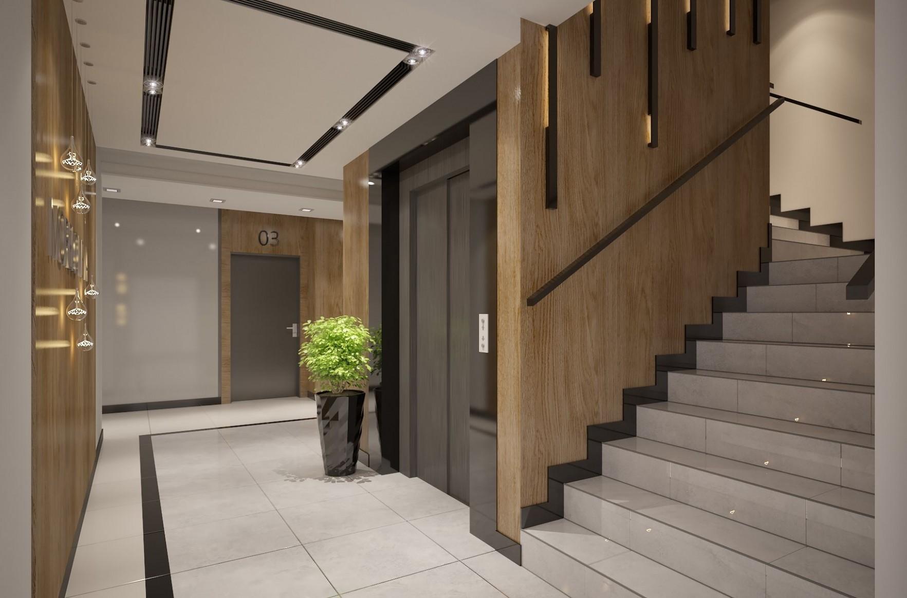Apartments building Entrance Hall area Foyer Lobby with elevator  - Apartment Entrance Design Ideas