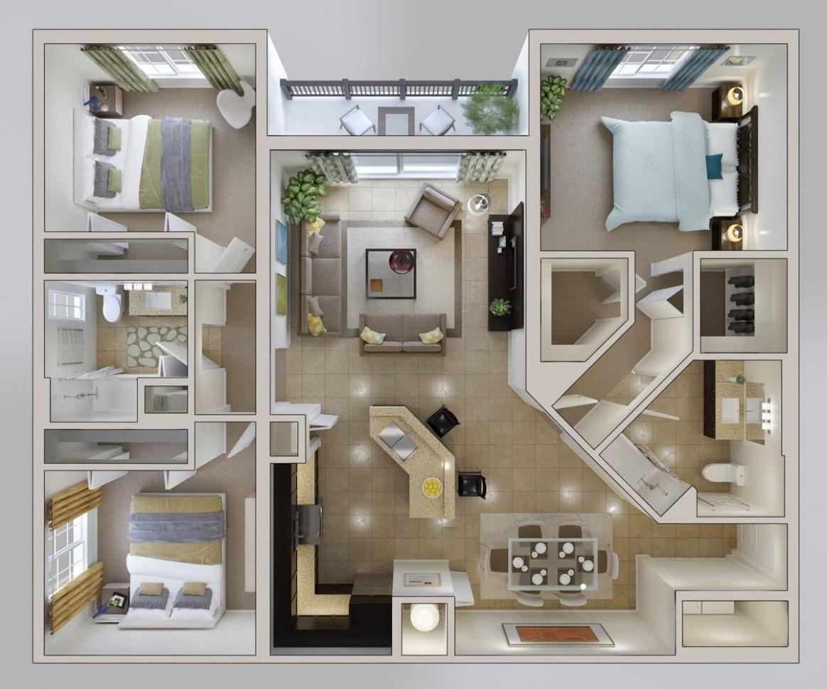 Apartments Floor Plans  Bridges at Kendall Place  12d house plans  - Apartment House Design Ideas
