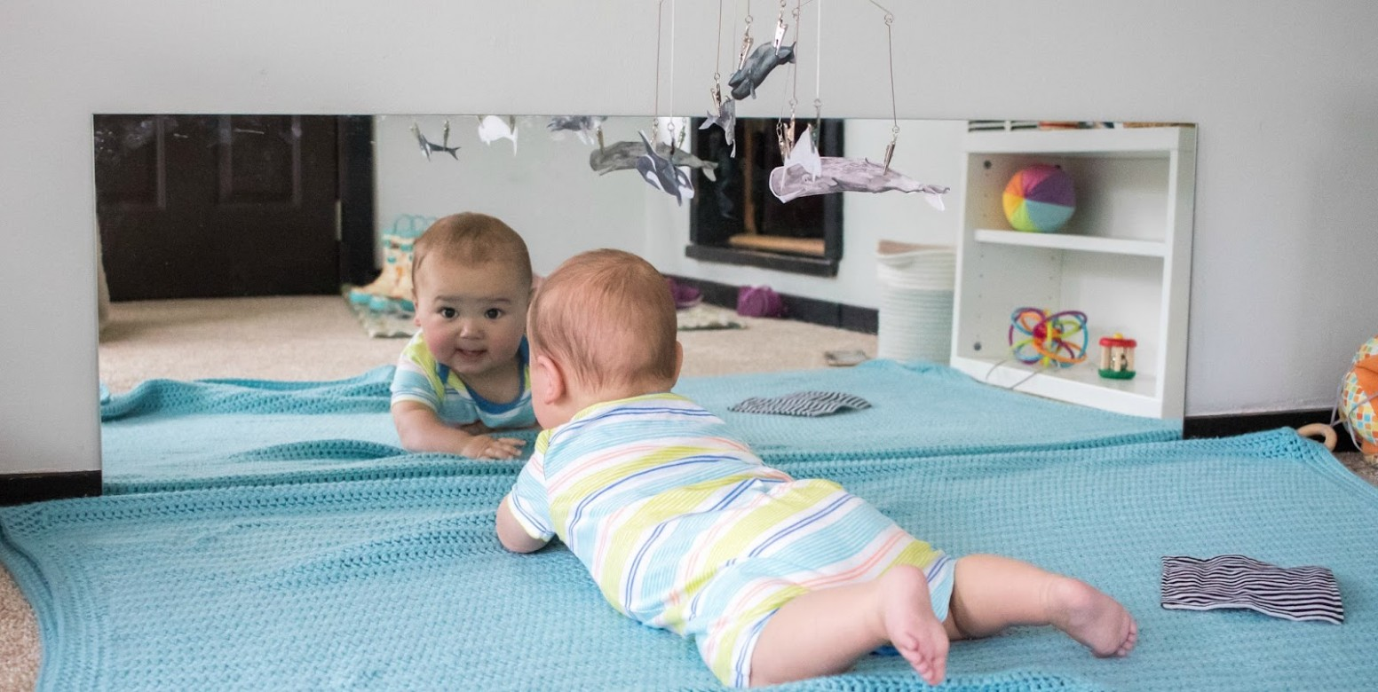 Babies and Mirrors -- Montessori Baby Week 8 - Baby Room Mirror