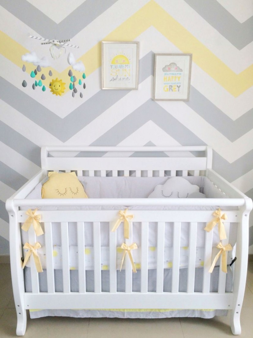Baby boy nursery You are my sunshine theme; sun clouds rain  - Baby Room Yellow And Grey