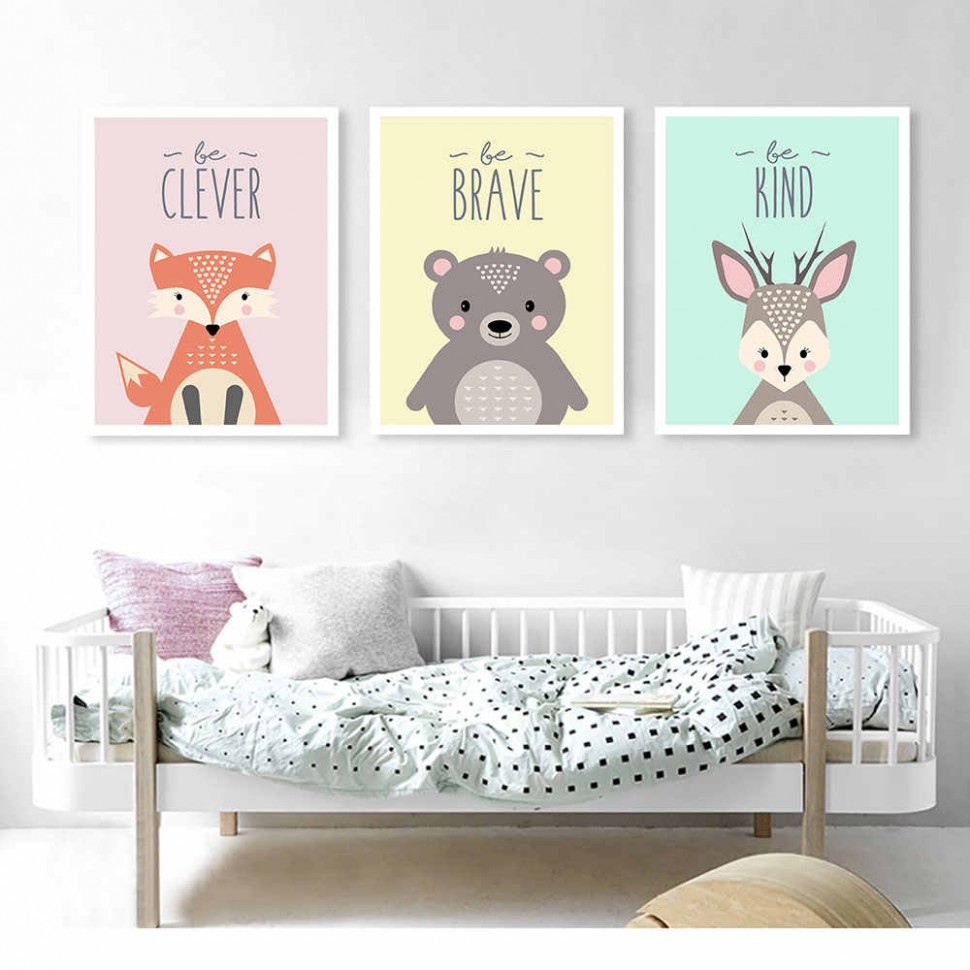 Baby Decor Animal Painting Be Brave Girl Room Wall Art Canvas Prints Beer  Nordic Poster Bedroom Wall Painting Canvas Pictures - Baby Room Wall Painting