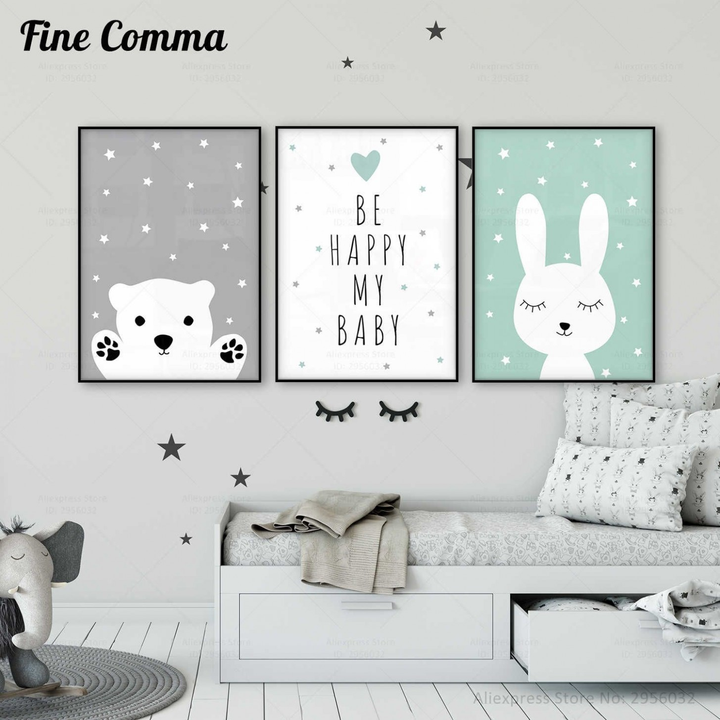 Baby Nursery Wall Art Canvas Poster Print Nordic Kids Decoration  - Baby Room Posters