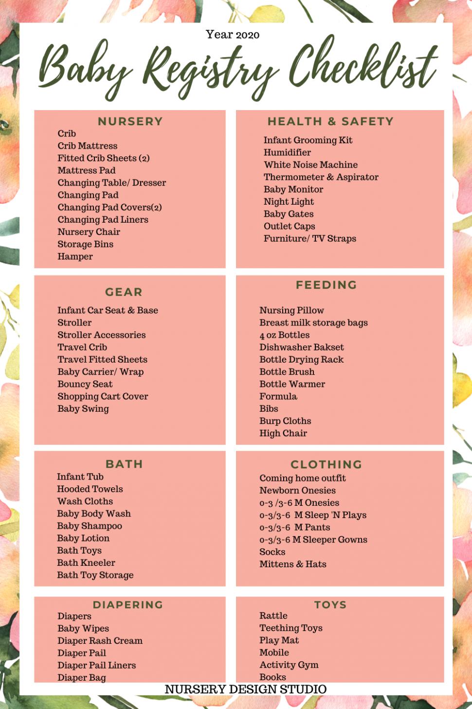 BABY REGISTRY CHECKLIST 11 AND PRINTABLE  Nursery Design Studio - Baby Room Checklist