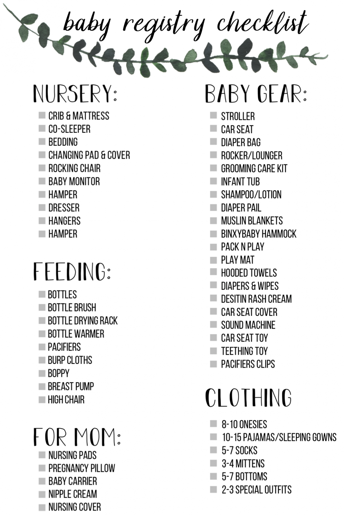 Baby Registry Checklist & Must Have Items!  Baby registration  - Baby Room Checklist
