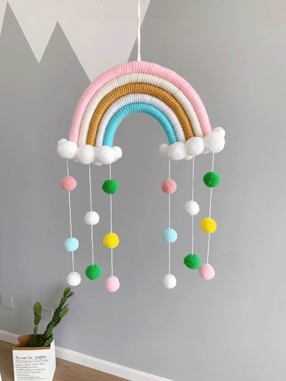Baby Room Decoration Nordic Hand-Woven Rainbow Ornaments DIY Rope Rainbow  Toy Wall Hanging Baby Bedroom Decor Photo Props - Baby Room Ornaments