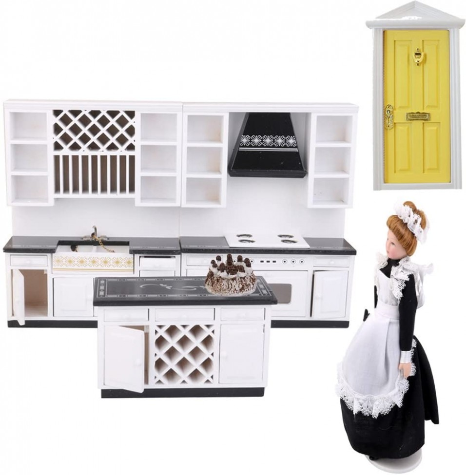 Baoblaze 9/92 Miniature Kitchen Furniture Kit Cabinet + Door +  - Dollhouse Kitchen Cabinet Kit