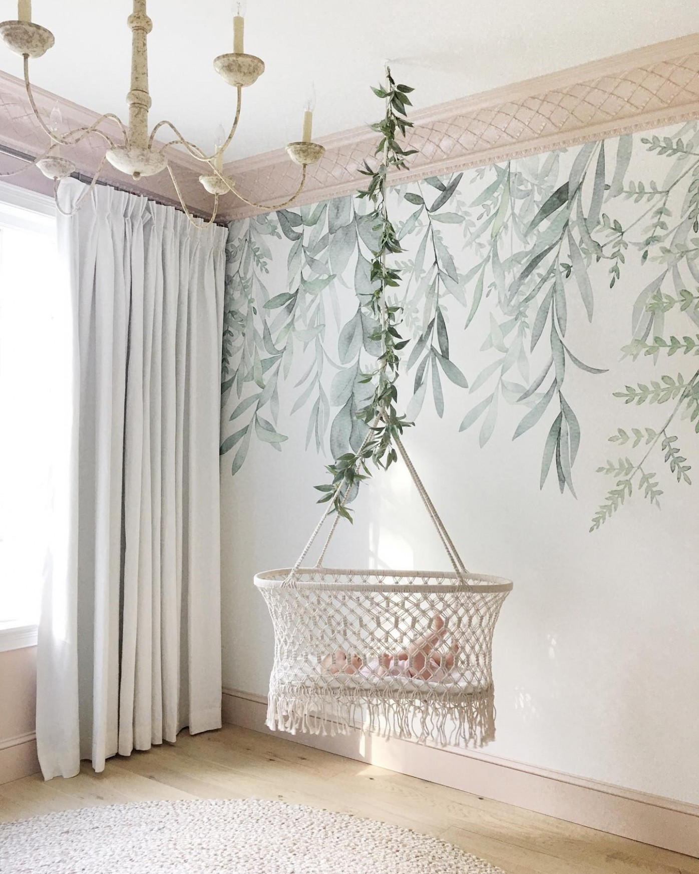 Basinette With Faux Garland Decor in 10  Baby room decor  - Baby Room Garland