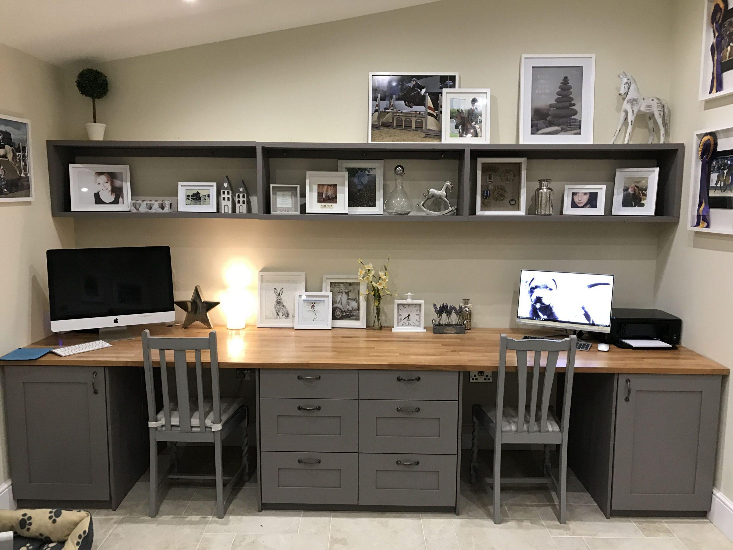 Beautiful double desk  Basement home office, Home office layouts  - Home Office Ideas Two Desks