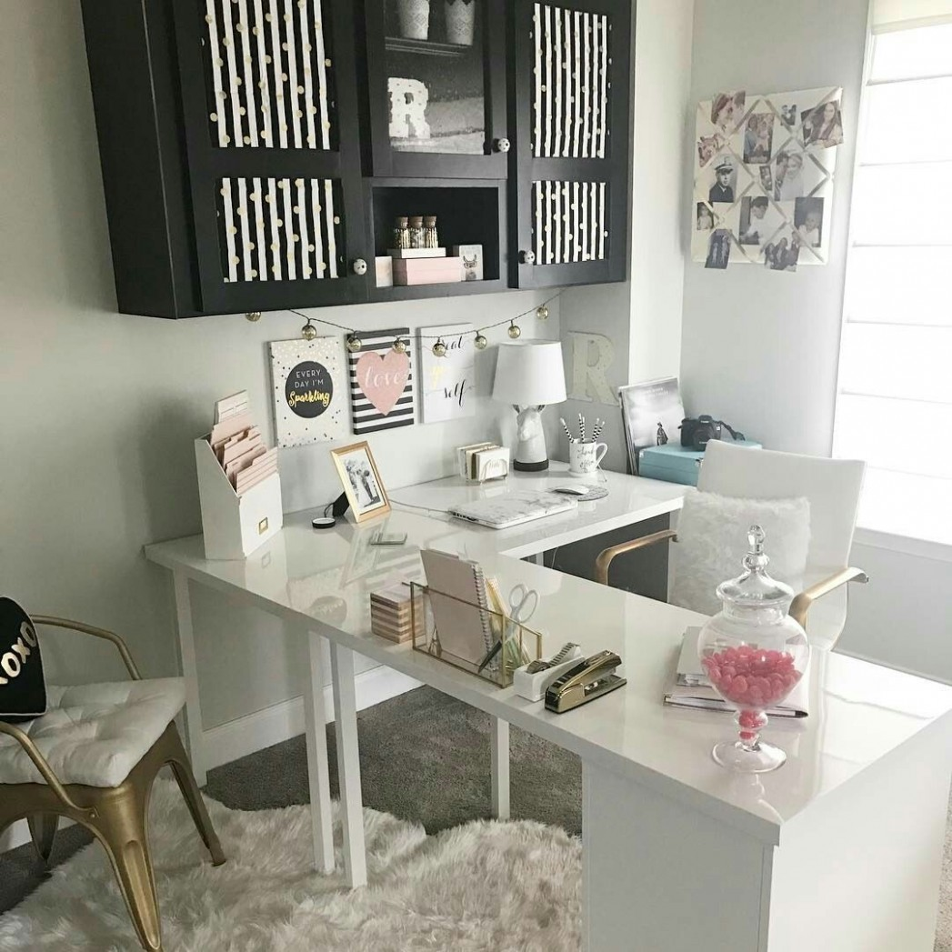 Beautiful L shaped desk and organized cabinets  Home office decor  - Home Office Ideas With L Shaped Desk