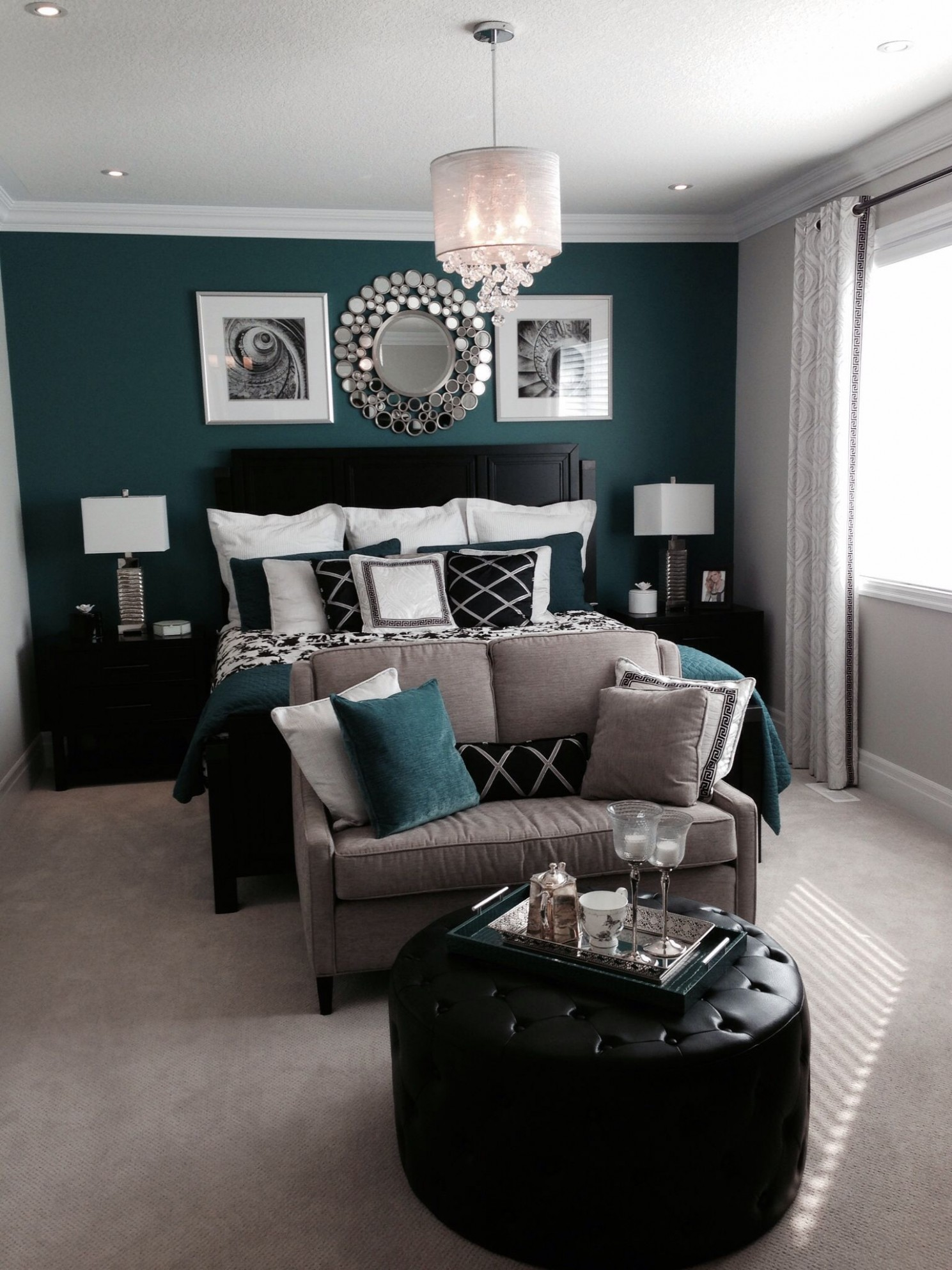 Bedroom with a beautiful green or teal feature, accent wall and  - Bedroom Ideas Teal