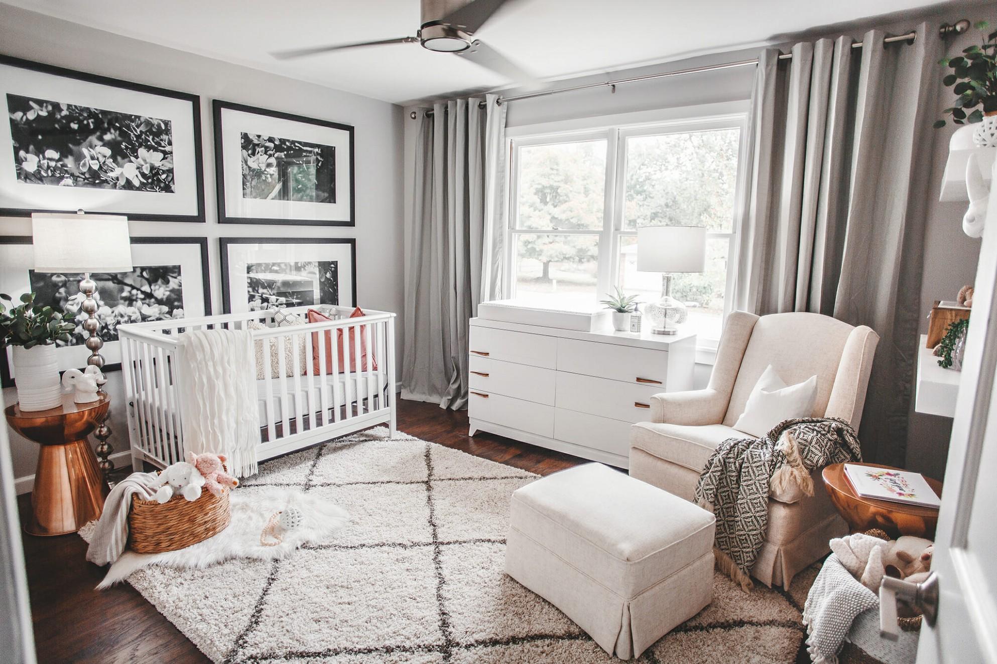 Before & After: Feminine & Lux Baby Nursery Design  Decorilla Online - Baby Room Interior