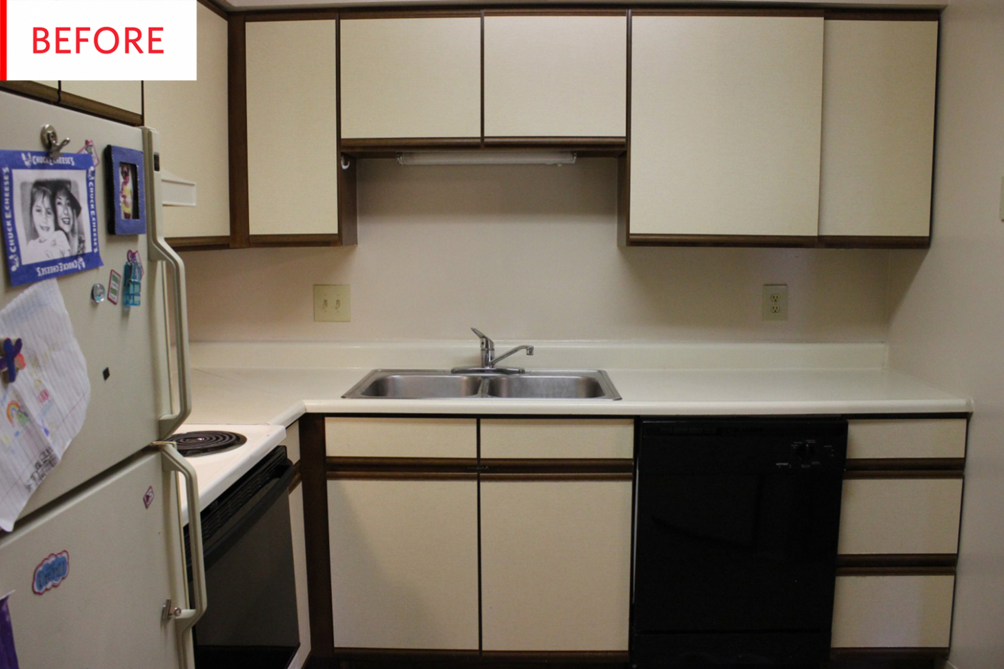 Before & After: This Kitchen Gets Covered From Head to Toe With  - Temporary Kitchen Cabinet Covers