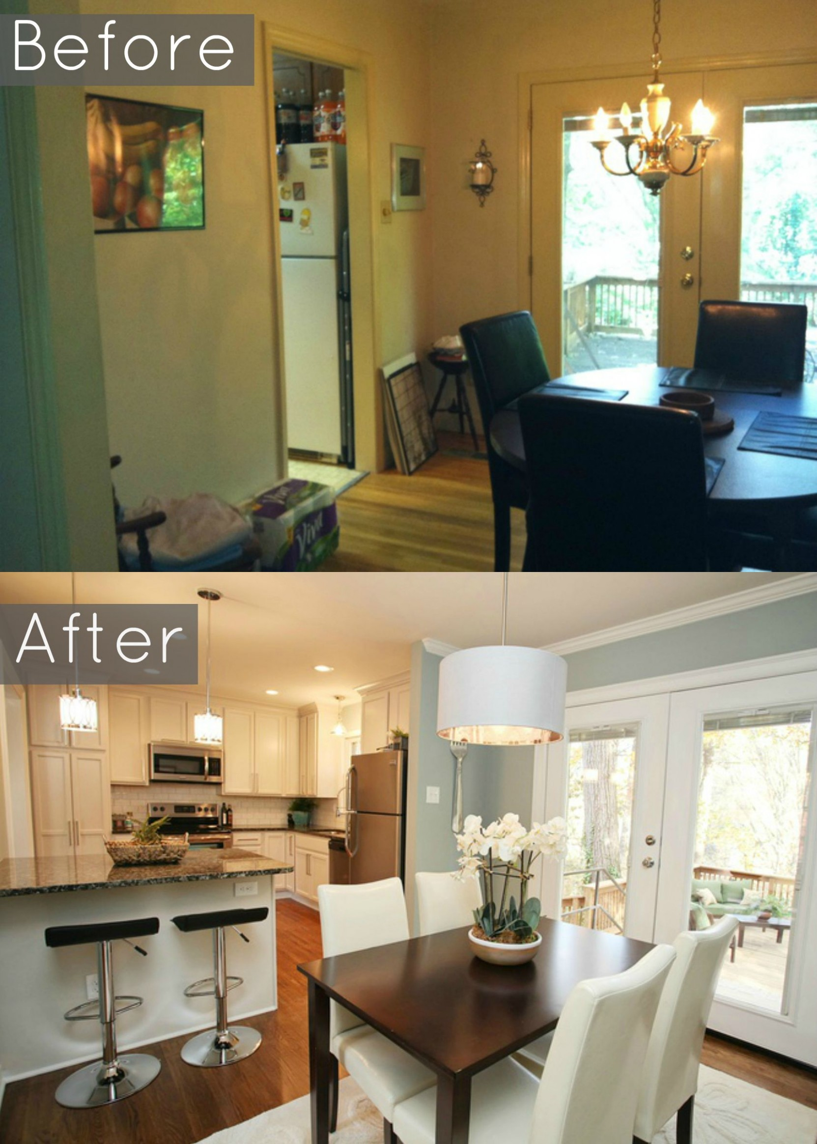 Before and After Pic- we removed wall into dining room and created  - Dining Room Kitchen Design Ideas