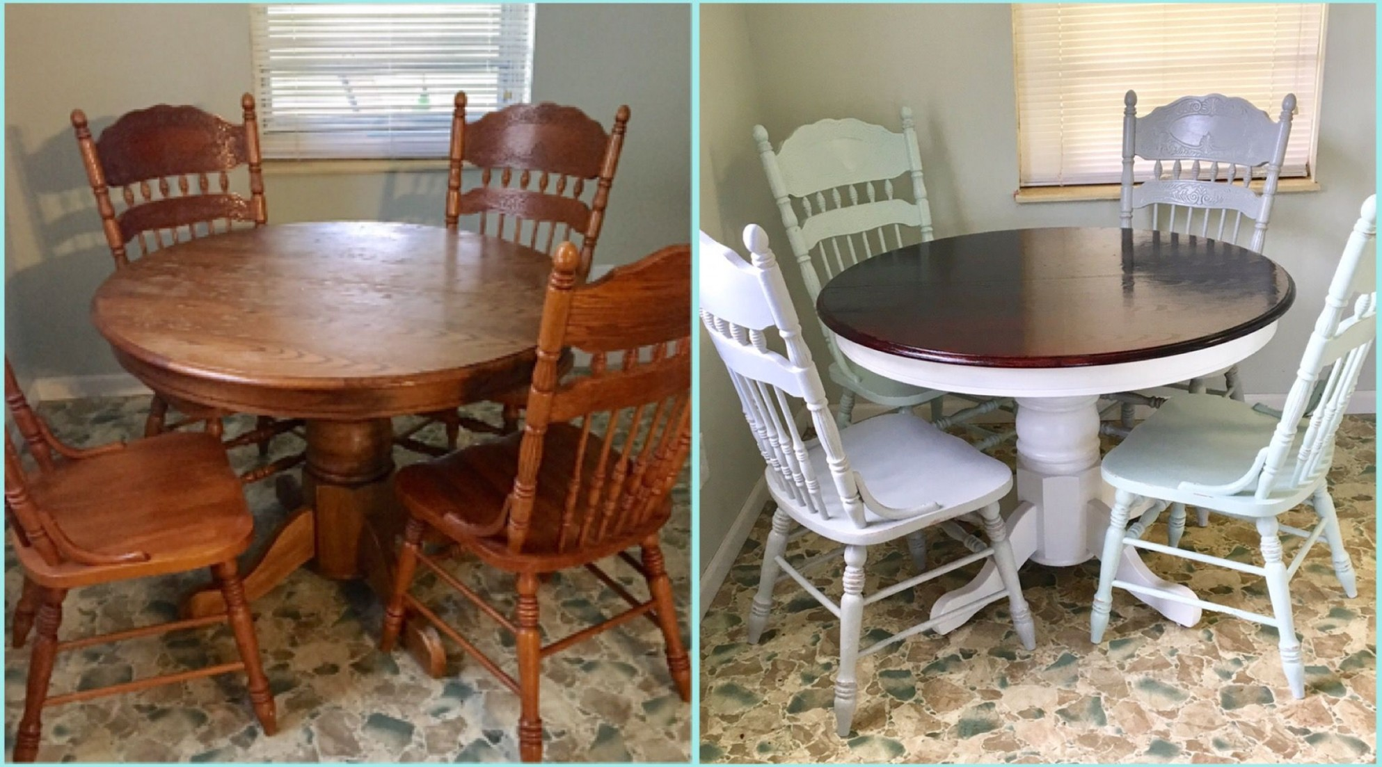 Before and after. Round oak table makeover/redo