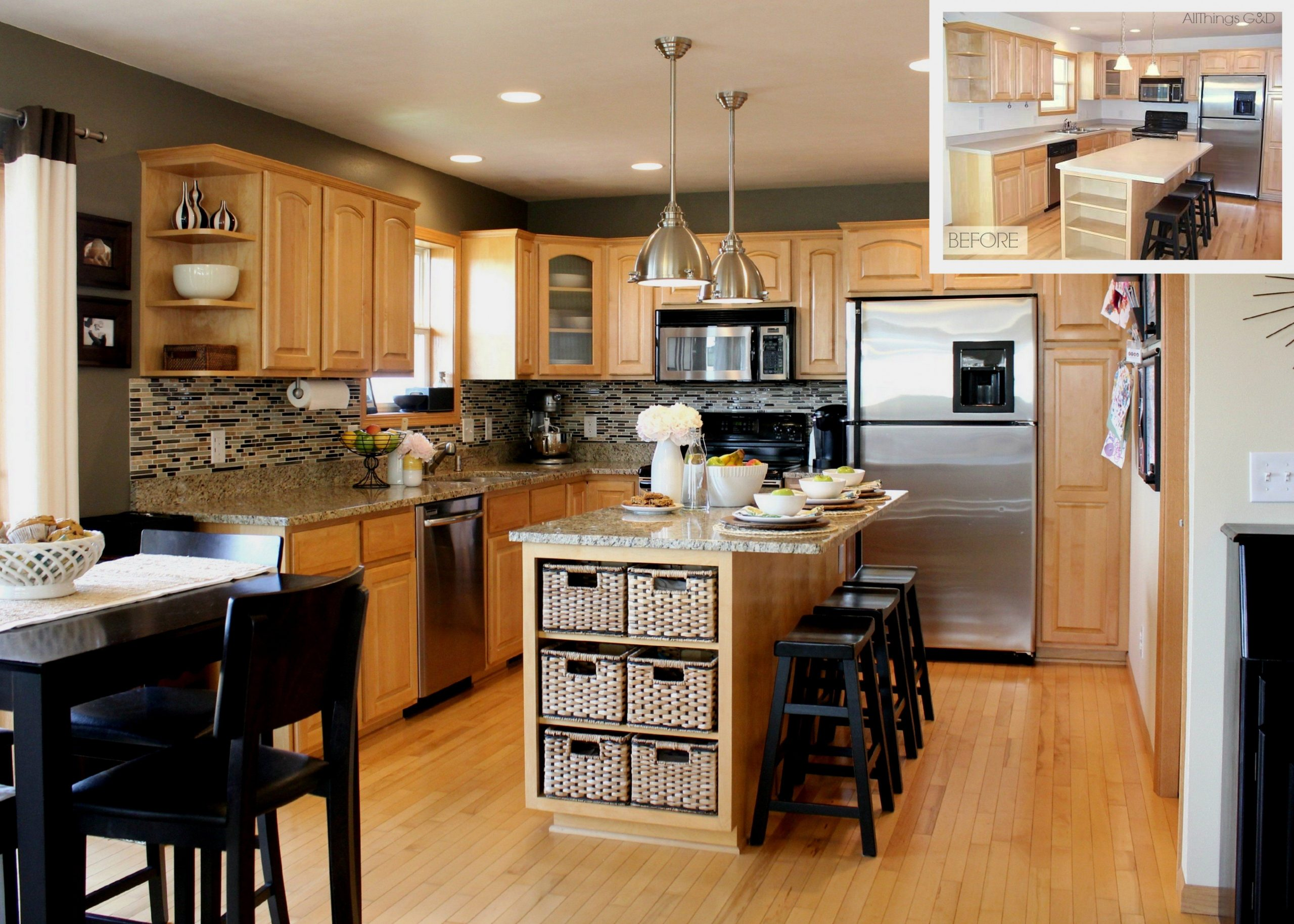 beige wall themes and brown wooden oak cabinet and kitchen island  - Best Kitchen Wall Colors With Maple Cabinets