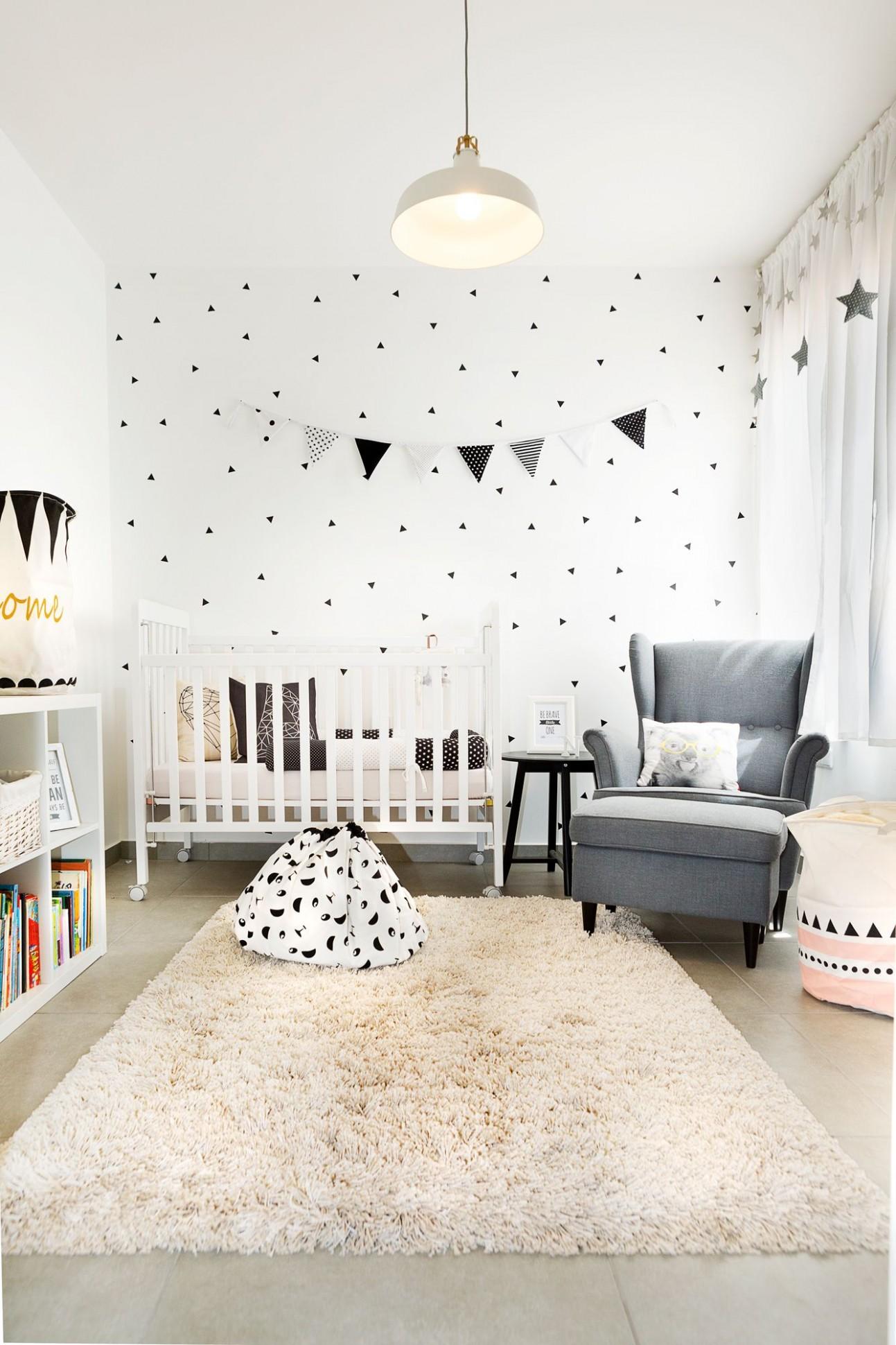 black and white geometric design baby room ikea style by dana  - Baby Room Ikea