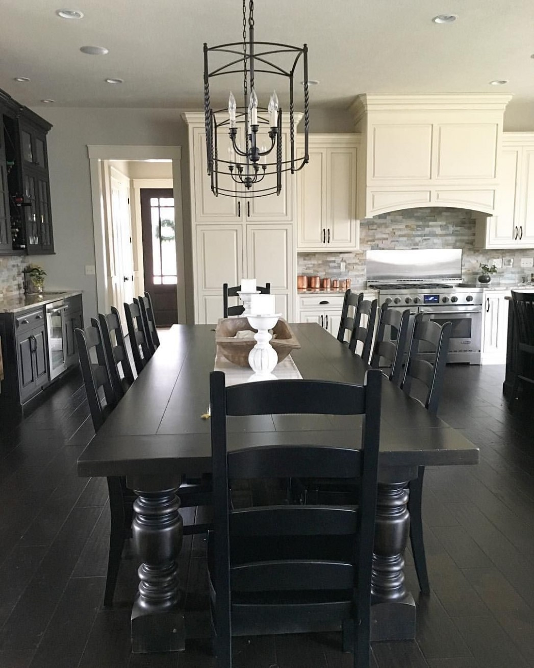 Black and white modern farmhouse kitchen with long dining table  - Dining Room Ideas Black Furniture