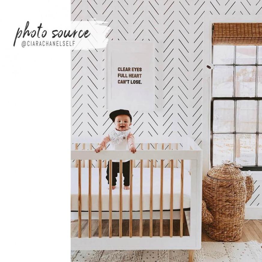 Black delicate herringbone nursery wallpaper - Baby Room Wallpaper