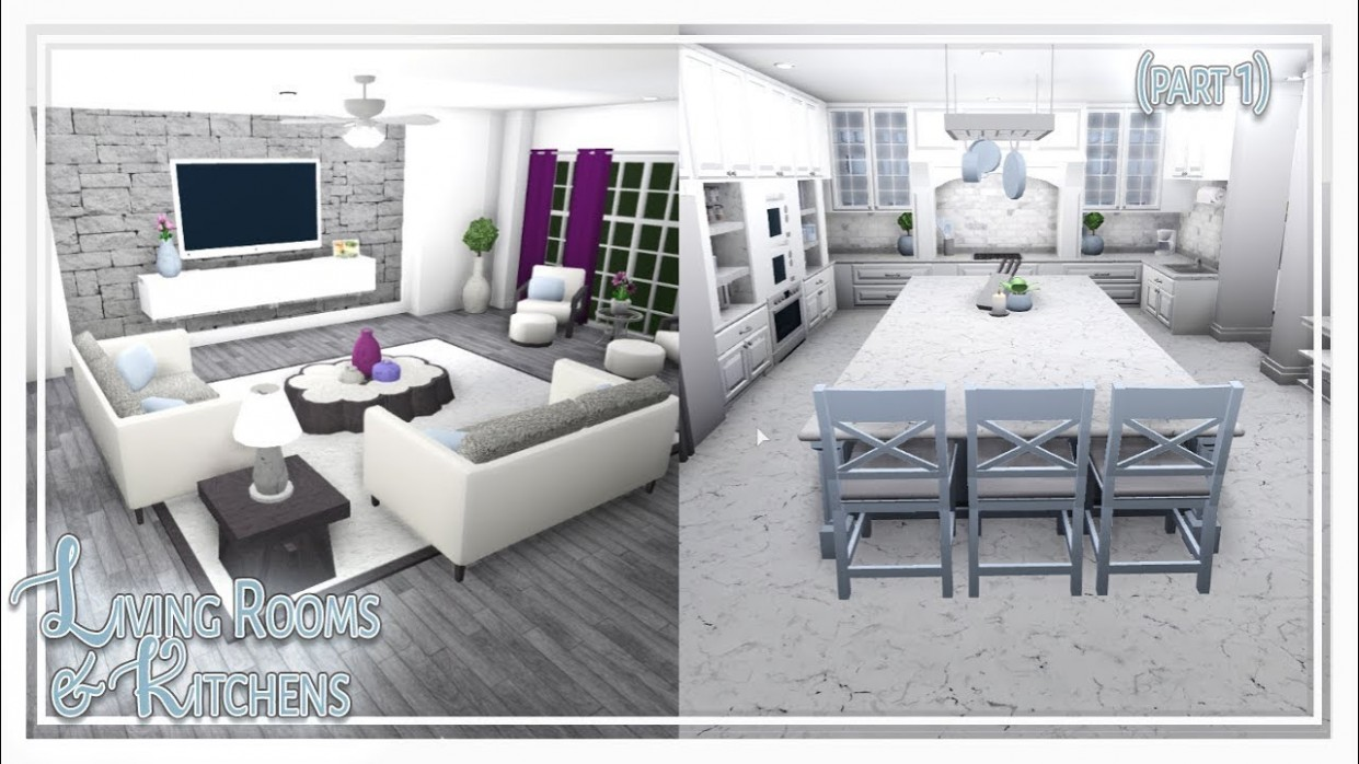 Bloxburg  Living Room & Kitchen Build (Part 9 of 9) - Dining Room Ideas Bloxburg