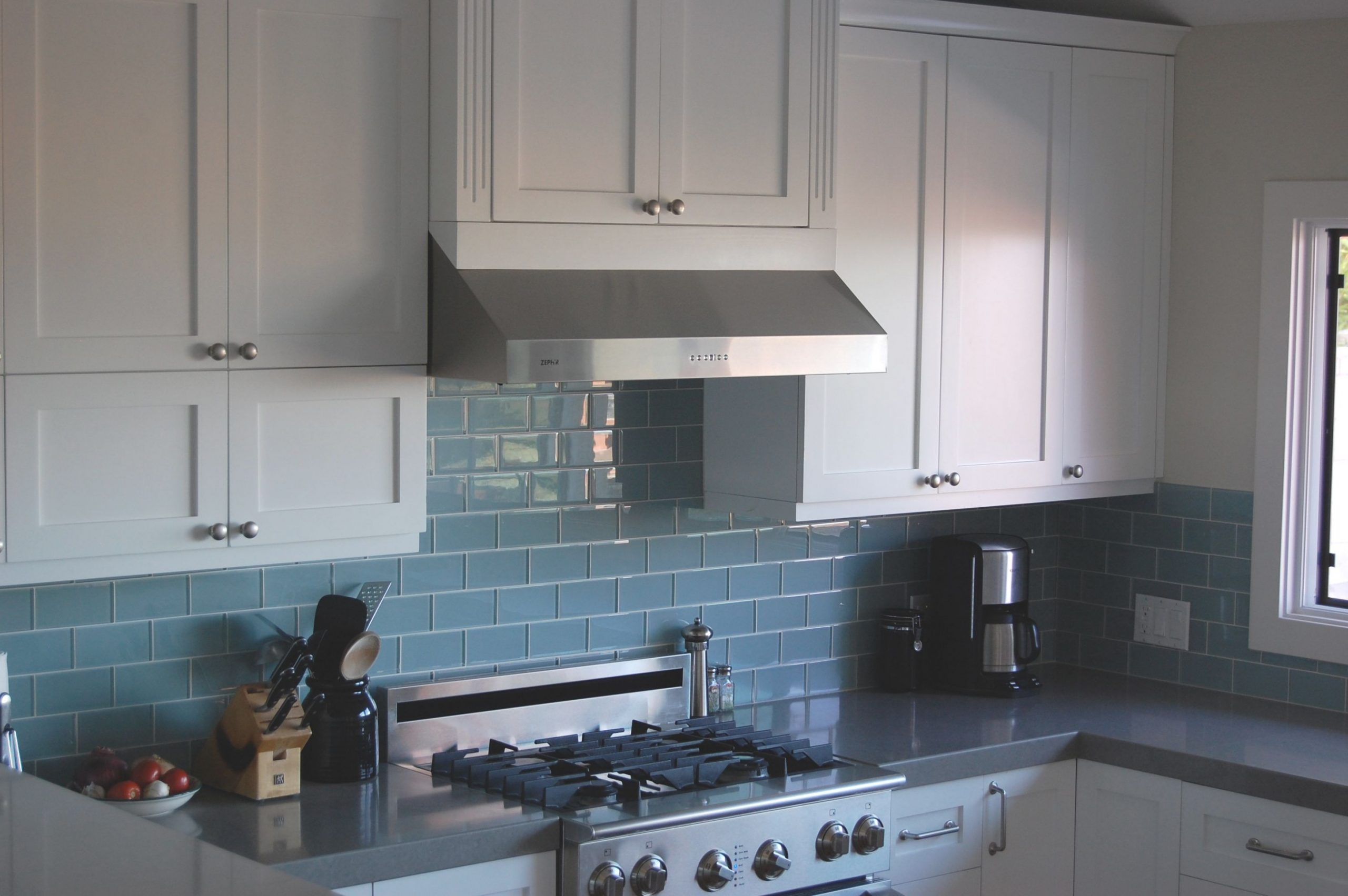 blue clean subway tile, white shake cabinet, gray countertop  - Gray Kitchen Cabinets With Blue Backsplash