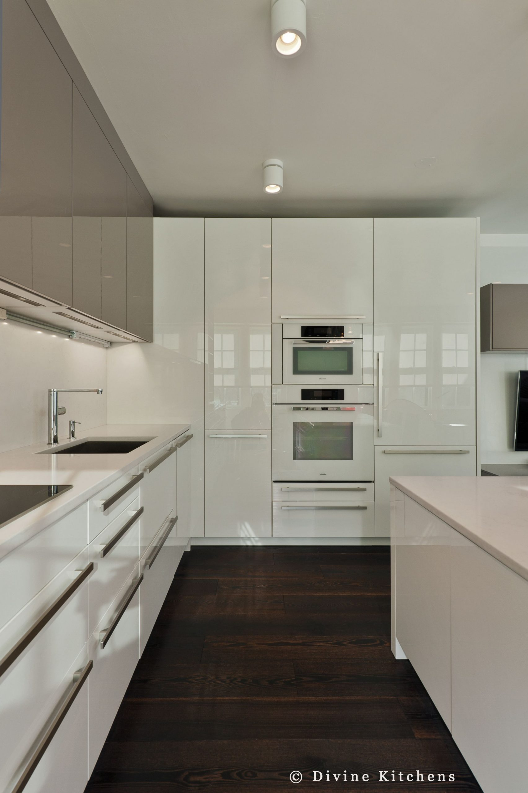 Boston modern kitchen. White and gray cabinets
