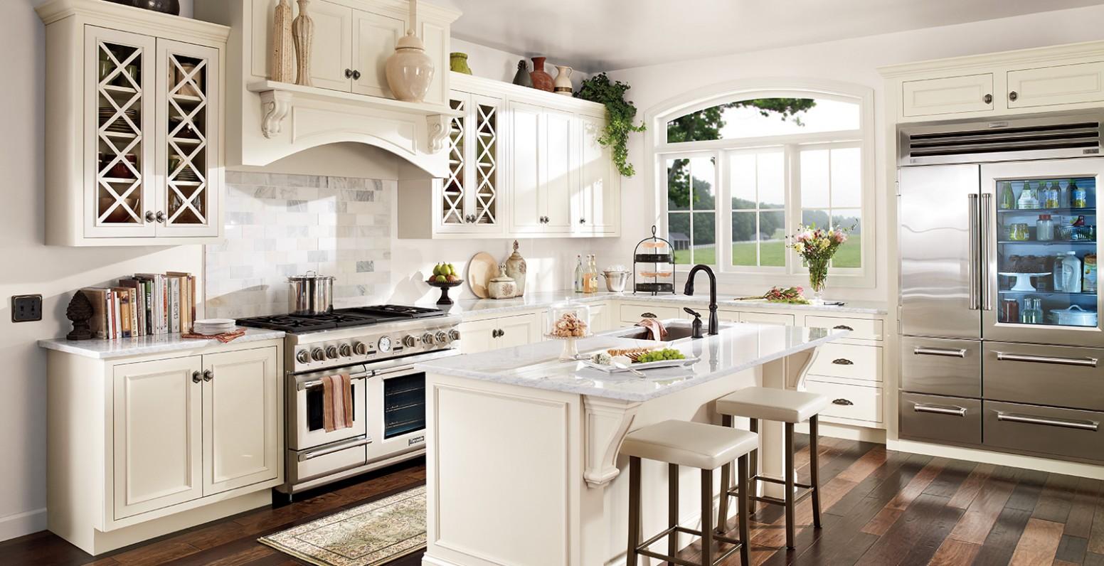 Brightened Kitchen  Classic Kitchen Gallery  Behr - Swiss Coffee Paint Kitchen Cabinets