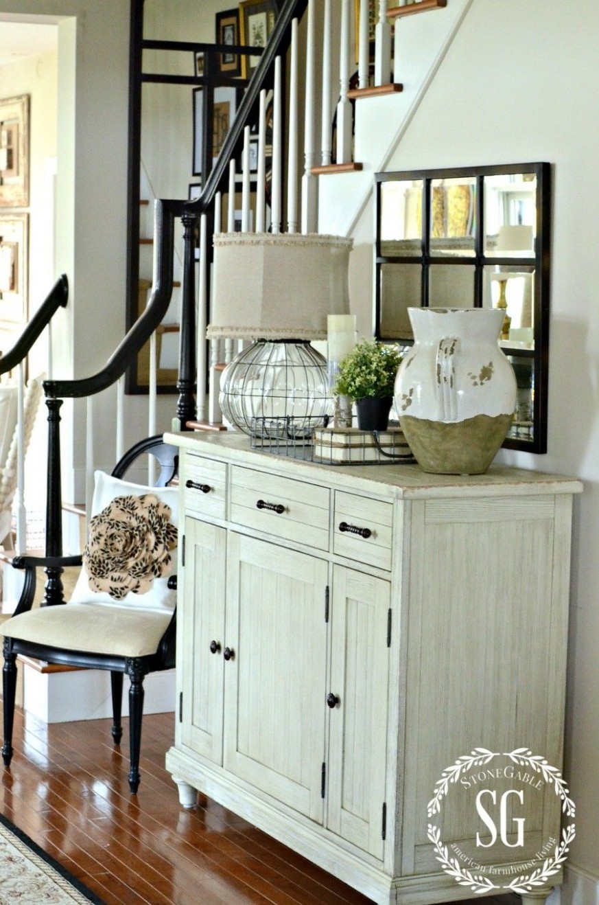 BUFFET IN THE FOYER FINDING THE RIGHT PIECE - StoneGable  - Dining Room Entryway Ideas