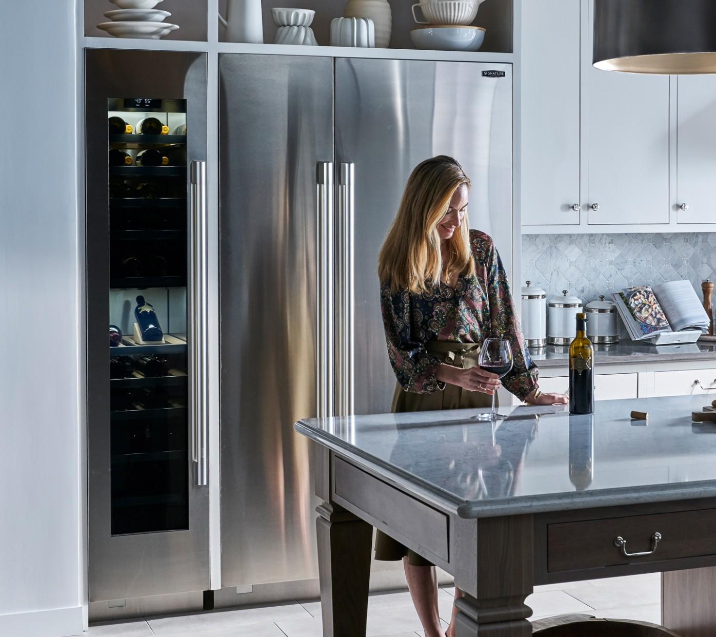 """Built In 12"""" Wine Refrigerator  Signature Kitchen Suite - Wine Fridge Kitchen Cabinet"""