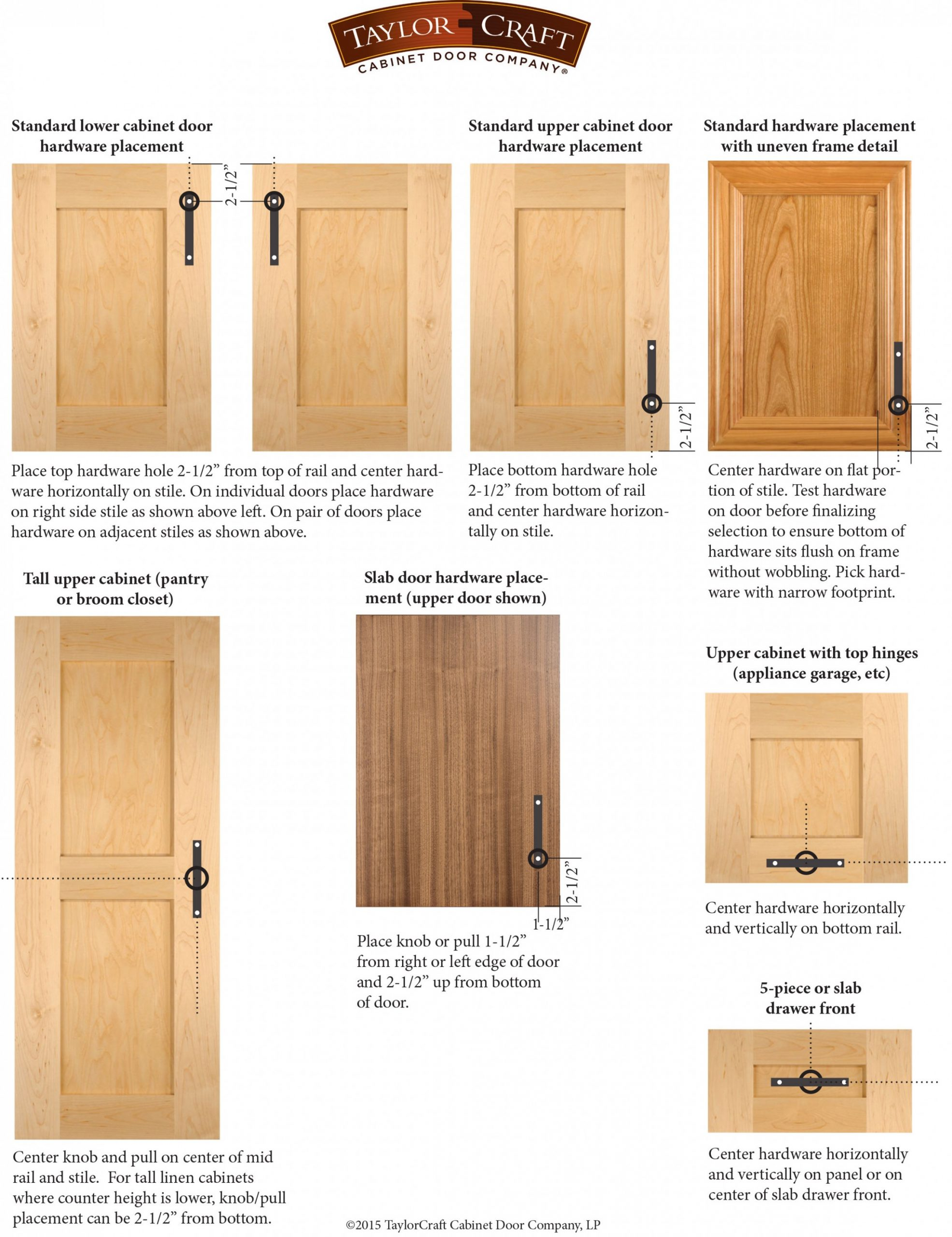 Cabinet Door Hardware Placement Guidelines - TaylorCraft Cabinet  - How Do You Install Kitchen Cabinet Pulls