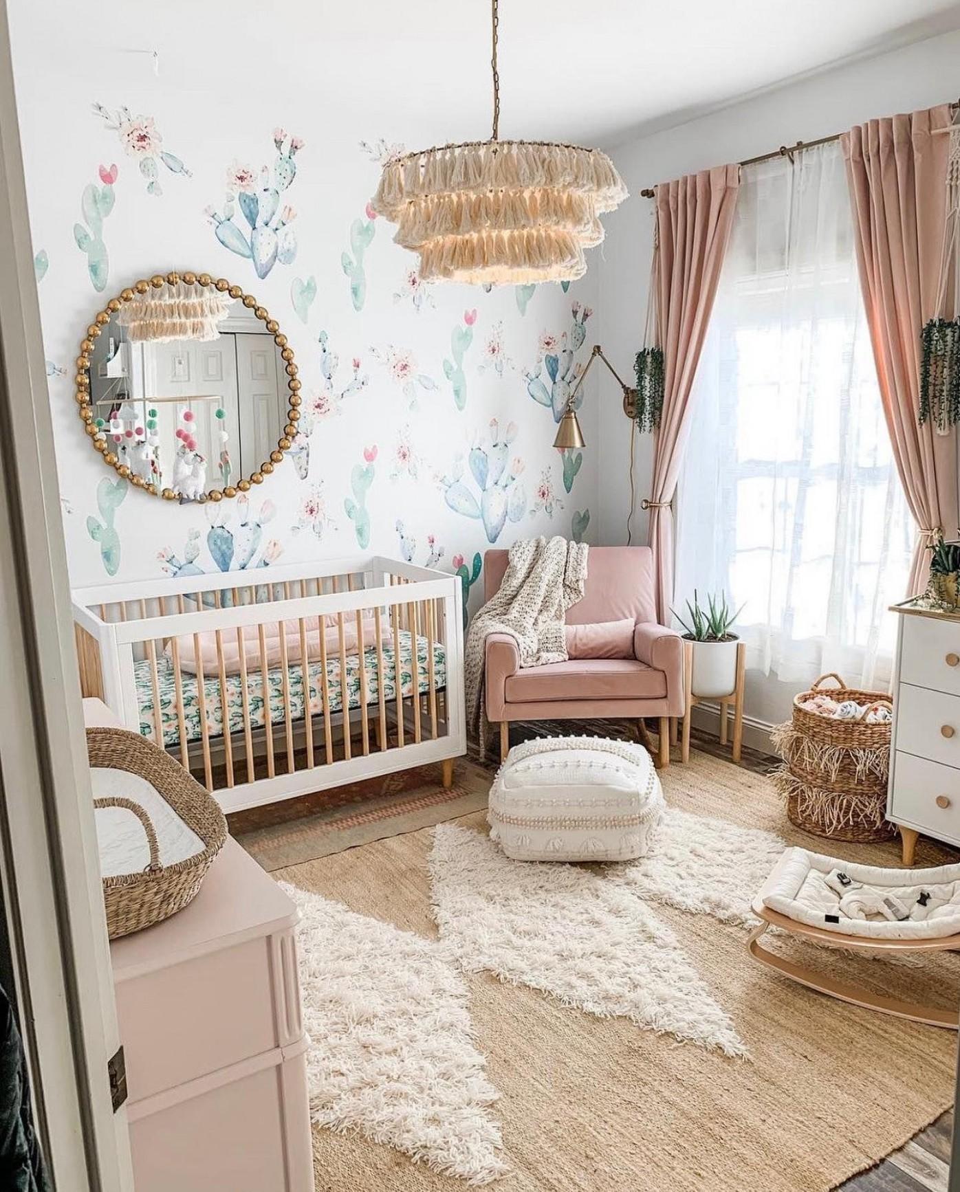 Cactus Decals in Boho Baby Girl Nursery in 10  Girl nursery  - Baby Room Girl