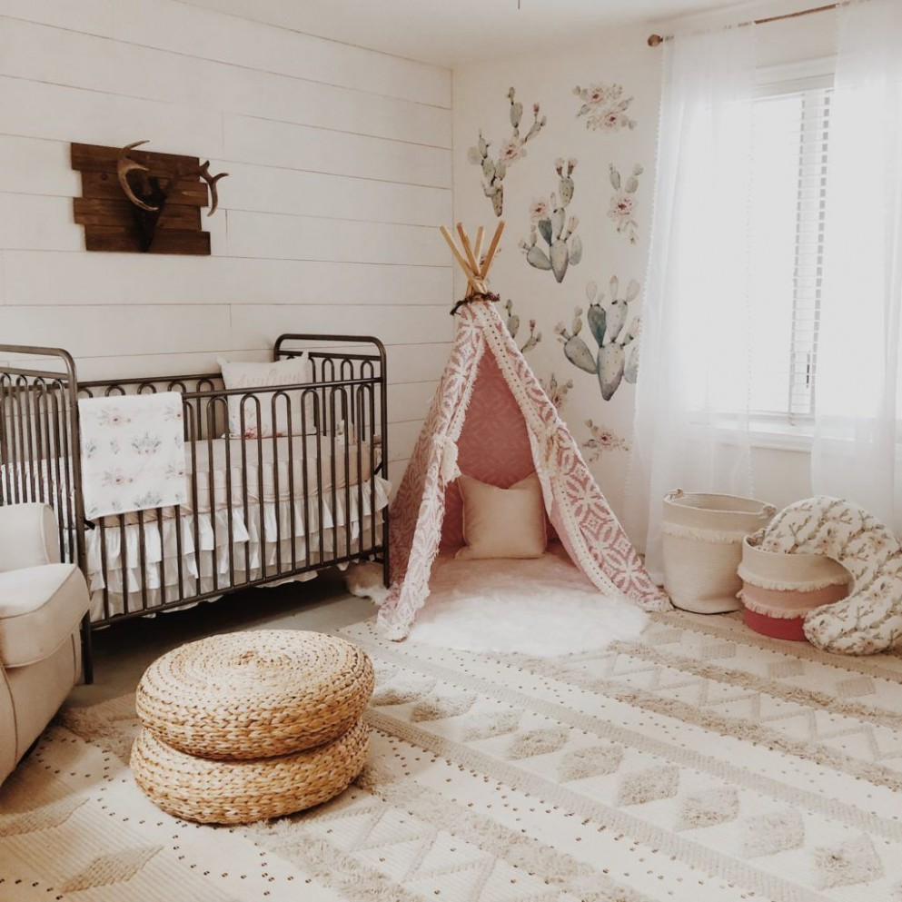 Cactus Queen - Project Nursery in 9  Gold nursery decor, Boho  - Baby Room With Queen Bed