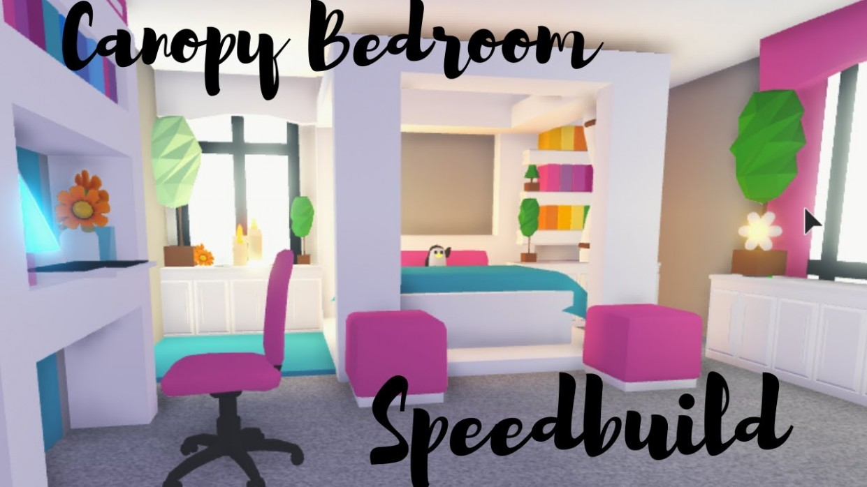 Canopy Bed with CUSTOM Blanket Bedroom Speedbuild Roblox Adopt Me - Bedroom Ideas In Adopt Me