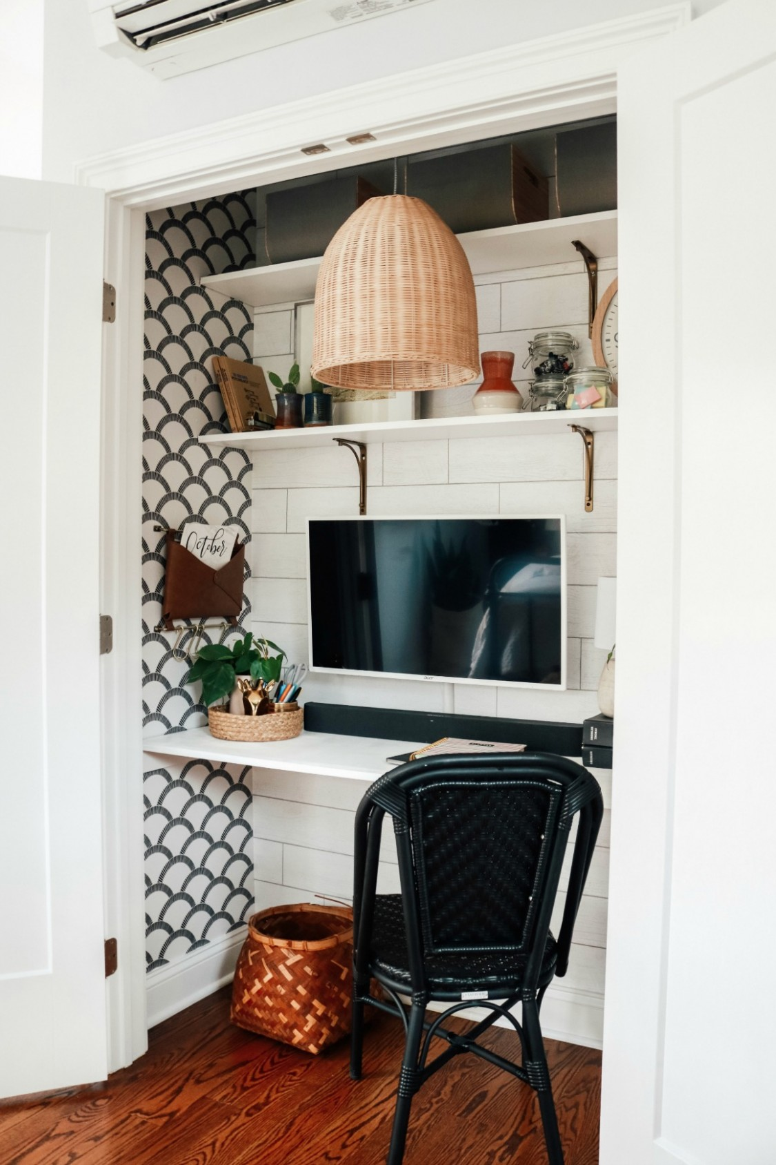 """Cloffice"""" Closet turned into an Office- Small Space Hack - Nesting  - Closet Office Ideas"""