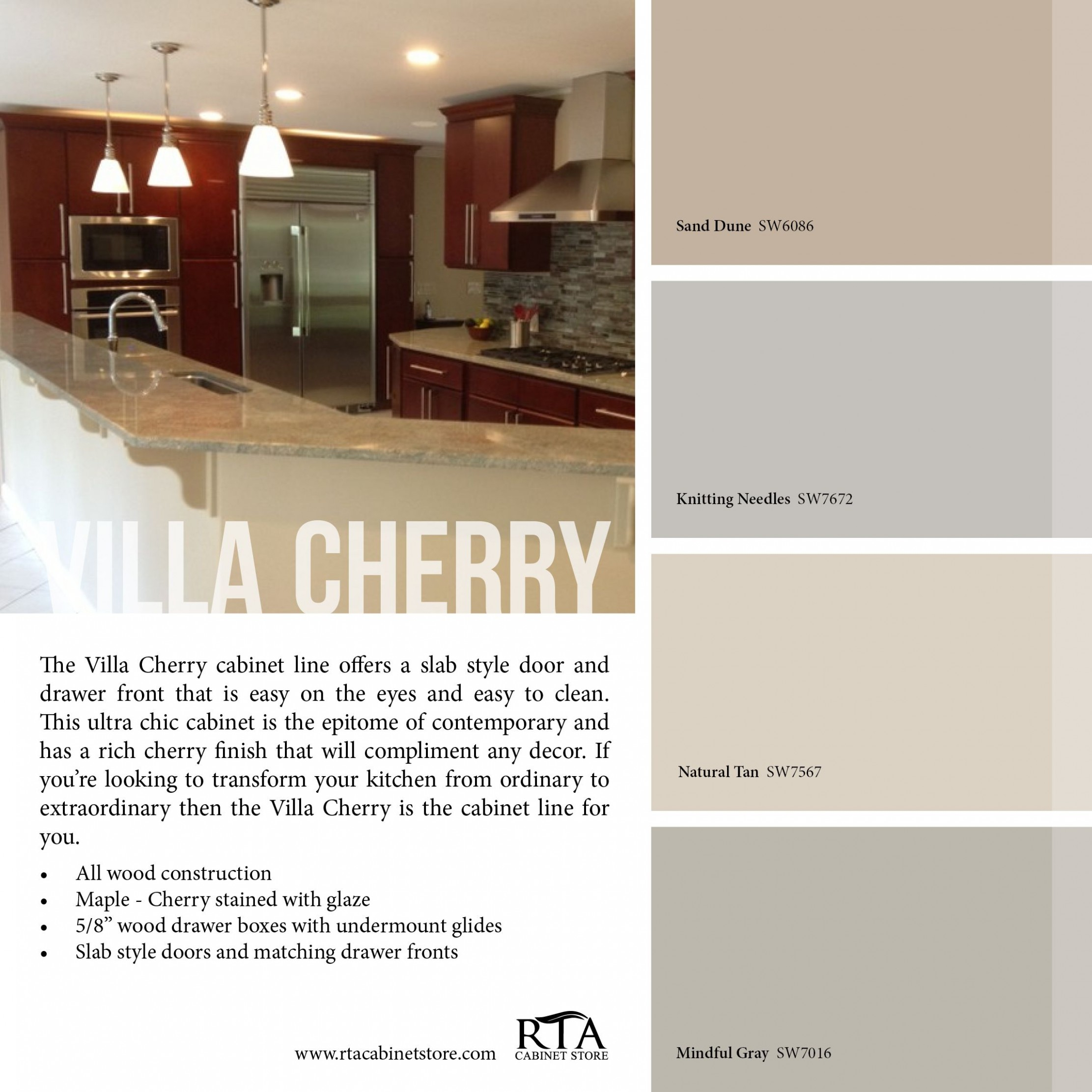 Color palette to go with our Villa Cherry kitchen cabinet line  - Kitchen Wall Paint Colors With Cherry Cabinets