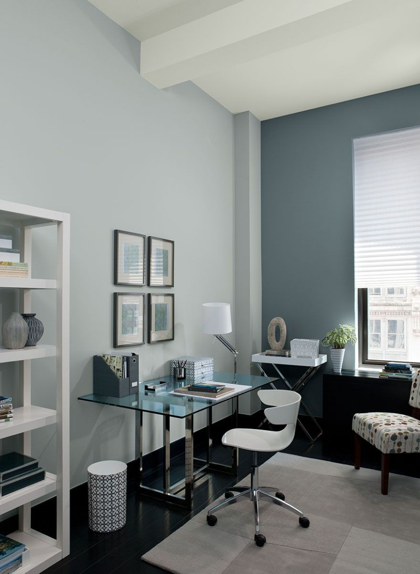 Colour a Room  Benjamin Moore  Gray home offices, Blue home  - Home Office Ideas Colors