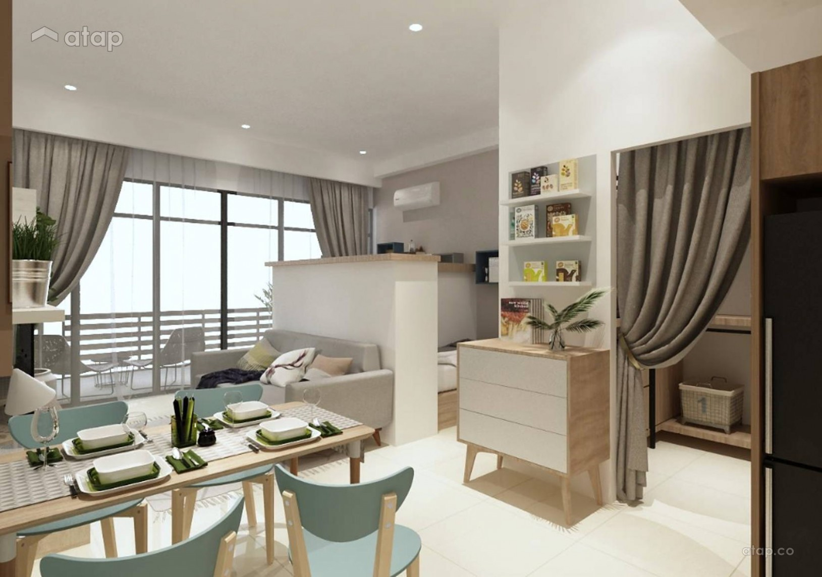 Contemporary Modern Living Room apartment design ideas & photos  - Apartment Design Johor