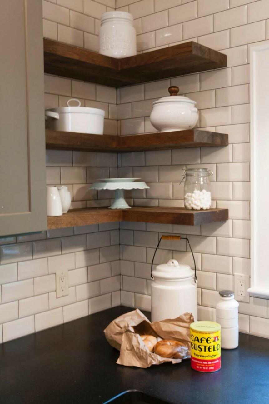 Corner shelves  Floating shelves kitchen, Diy floating shelves  - Corner Hanging Kitchen Cabinet