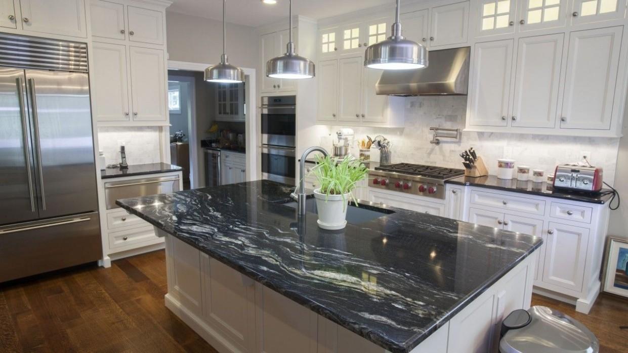 Cosmic Black & Black Galaxy Granite Kitchen Countertops  Black  - Kitchens With White Cabinets And Dark Granite Countertops